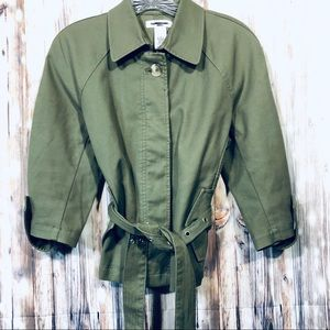 Isaac Mizrahi Cropped Trench Coat Size Small